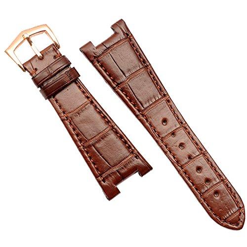 25mm marrón cuero correa de reloj banda hebilla de oro rosa Made para PP 5711 5712repuesto