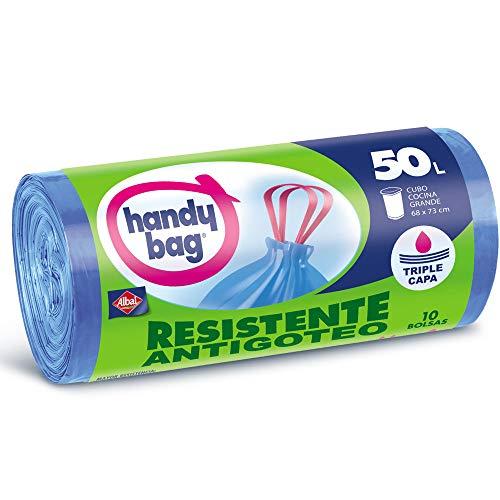 Handy Bag Bolsas de Basura 50L, Extra Resistentes, No Gotean, 10 Bolsas