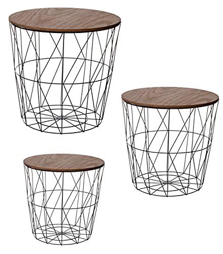 Brandsseller 3er Tischset Beistelltisch Couchtisch Ø 29 cm Ø 34 cm Ø 39,5 cm Metall/Holz (3 er Set, Holz/Dunkel)