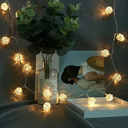 JiaMeng--Led Lichterkette Batterie, 20LED Lichterkette Balls mit 8 Lichtmodelle Deko Schminktisch ZubehöR Party, Garten, Weihnachten, Halloween, Hochzeit, Beleuchtung Deko 2.1M