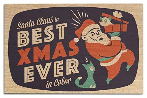 St234tyet Santa on Television Retro Christmas Art Prints - Letrero decorativo para colgar en la pared, placa de madera para decoración del hogar, para casa de campo, regalo de cumpleaños familiar o decoración de pared del hogar