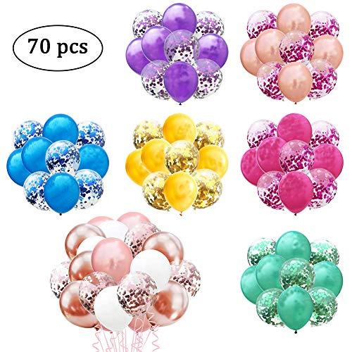70pcs Juego de globos de confeti-globos de fiesta de látex de 12 pulgadas con puntos de confeti para la fiesta de graduación Suministros para bodas o cumpleaños