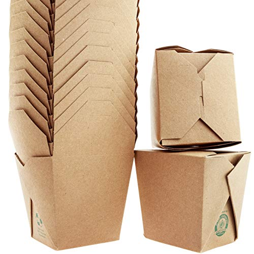 100% Recycled, Eco-Friendly 32 Oz Chinese Take Out Boxes 10 Pk. Unbleached, BPA-Free Takeout Containers are Leakproof and Microwavable. Stackable to-Go Meal Pails Great for Weddings or Party Favors