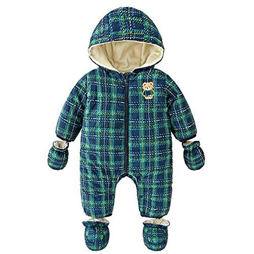 Baby Schneeanzüge Overalls mit Kapuze Winter Strampler mit Füßen Weihnachten Jumpsuit Outfits 9-12 Monate