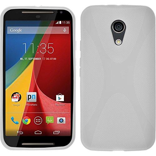 PhoneNatic Hülle kompatibel mit Motorola Moto G 2014 2. Generation - weiß Silikon Hülle X-Style + 2 Schutzfolien