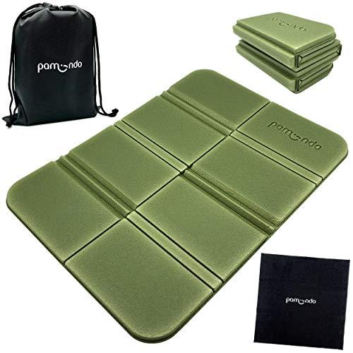 pamindo Sitzkissen Outdoor faltbar für Erwachsene & Kinder - Klappbare Sitzmatte sehr kompakt & federleicht mit Tasche / Beutel & Wischtuch (tannengrün)