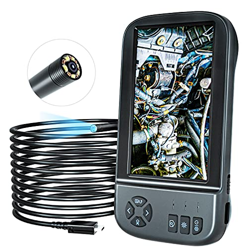 Industrie Endoskop,YINAMA 1080P HD Digitale Endoskop-Kamera 4,5 Zoll LCD Bildschirm Video Inspektionskamera, mit 6 LED Leuchten, Halbsteifem Kabel