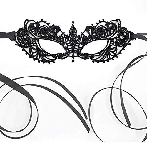 The Lace Mask Co. Anastasia Pizzo Elegante Maschera per Ballo mascherato Ballo di Carnevale di Halloween (Nero)