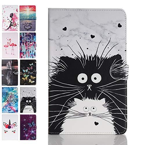 Ancase Funda para tablet compatible con Samsung Galaxy Tab S6 Lite 10,4 pulgadas 2020 SM-P615 / P610, funda de piel con estampado, funda con tapa y tarjetero - gato blanco y negro