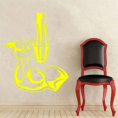 Peluquería Peluquería Vinilo Tatuajes de pared Peluquería Músculo Hombre Mano Pegatinas de pared Gimnasio Hombre Decoración de habitación Murales de arte color-4 74x91cm