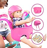 Bikes on Hikes Doll Seat Set - Universal Scooter and Bicycle Carrier and Helmet for Dolls and Stuffed Toys - Fun Hot Pink Bike Accessories and Birthday Gift for Girls Fits All Dolls