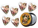 50s Pin Up Girl Flower In Hair 6 X Guitarra Picks in Tin (GD)...