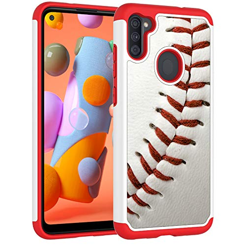 Samsung A11 Case, Galaxy A11 Phone Cover - Baseball Sports Pattern Shock-Absorption Hard PC and Inner Silicone Hybrid Dual Layer Armor Defender Protective Case for Samsung Galaxy A11