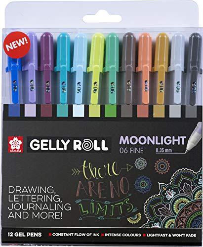 Sakura Gelly Roll Moonlight FINE - Juego de 12 bolígrafos de gel (0,35 mm), color negro