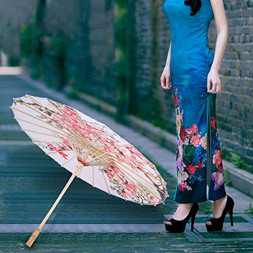 Snufeve6 Paraguas de Seda, Accesorios de Rendimiento de Paraguas de Tela de Seda fotografía para Bodas(02, L, Blue)