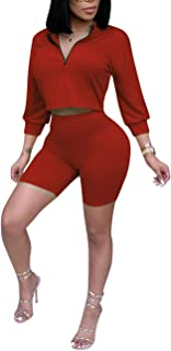 Womens Casual 2 Piece Outfits 3/4 Sleeve Crop Tops and Bodycon Shorts Set Tracksuit