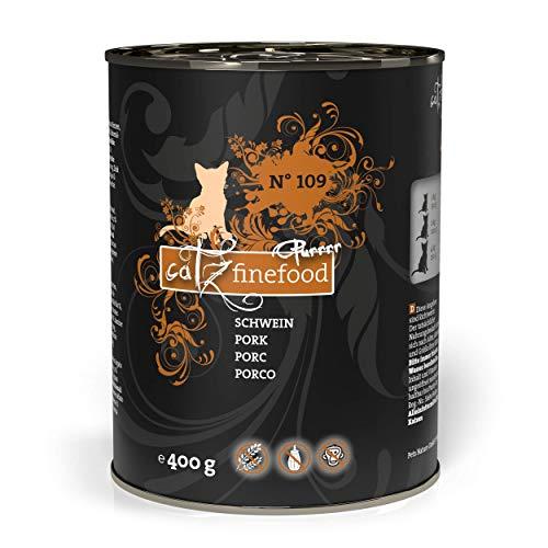 catz finefood Purrrr Schwein Monoprotein Katzenfutter nass N° 109, für ernährungssensible Katzen, 70% Fleischanteil, 6 x 400g Dose