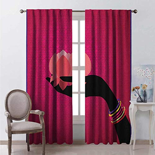 Lotus Energy-Saving and Noise-reducing Silhouette of Woman Hand with Bangles Holding a Japanese Flower Asian Folklore Design Rod-Shaped Pocket Curtains for The Living Room W72 x L72 Inch Multicolor