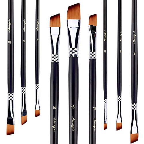 AMAGIC Angled Flat Tipped Brushes with Case, Art Angular Paintbrush Set for Acrylic Oil Watercolor, Professional Painting Kits with Synthetic Nylon Tips, Set of 9