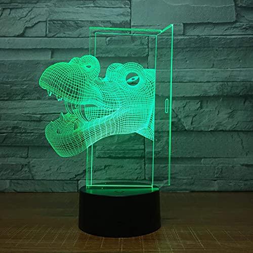Luz nocturna de 3D LED Luz de Noche Cabeza de dinosaurio Ilusión Lámpara de mesa Luces con...
