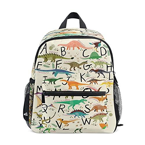 ABC - Mochila de dinosaurios para niños pequeños, mochila preescolar, guardería, bolsa de viaje para niñas y niños