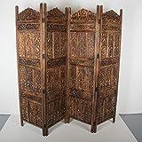 Casa Moro Biombo oriental Firdaus de 203 x 183 cm, 4 piezas, de madera auténtica y tablero DM, diseño indio como separador de espacios y hermosa decoración, artesanía pura PV5560