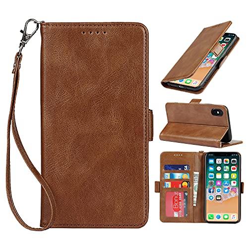 Copmob Hülle iPhone X/XS,Flip Leder Brieftasche Schutzhülle,[3 Steckplätze][RFID-Blockierung][Magnetverschluss],Klapphülle Ledertasche Handyhülle für iPhone X/XS - Braun
