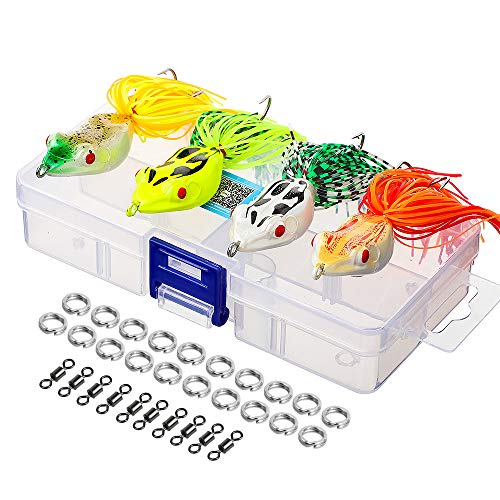 Topwater Frog Lures, Artificial Frog Fishing Lure Kit with Tackle Box for Bass Dogfish Musky Snakehead Pike Trout (Multicolors) (4 Hard Frog Lures)