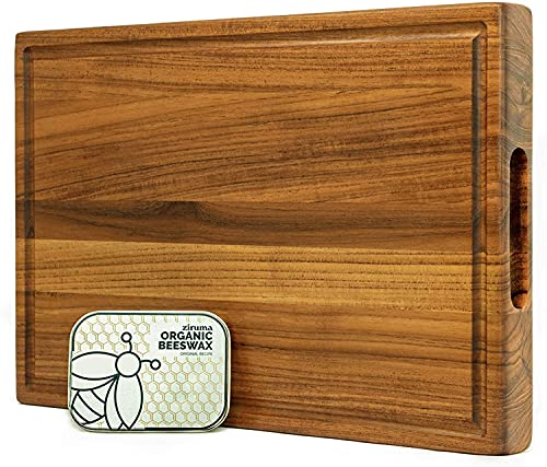 Prime Teak Wood Cutting Board Cured with Pure Beeswax and Organic Coconut Oil, 2oz of Extra Wood Moisturizer Included - 17x11 x 1.5 inch by Ziruma