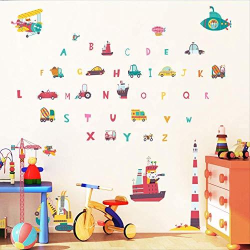 Sticker mural Mur de puzzle de dessin animé colle la lettre anglaise voiture transport enfant chambre de bébé sticker mural décoratif