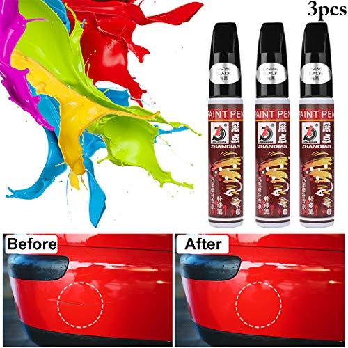 Pluma de retoque del Coche,Fanport 3pc Rotulador de retoque con Pincel para la Pintura del Coche Auto Rascandose Reparador Pintura para Retoques Boligrafo