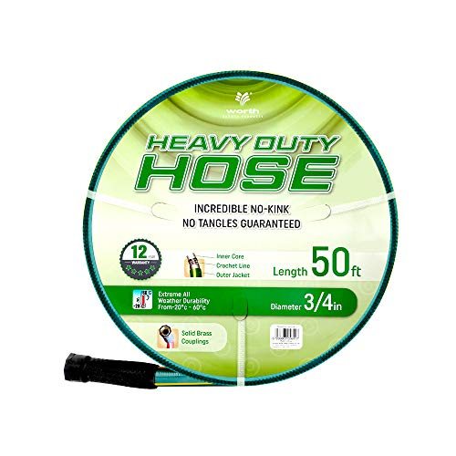 Solution4Patio Homes Garden 3/4 in. x 50 ft. Garden Hose Commercial, Kink Free, No Leaking, Heavy Duty, Brass Fitting, High Water Pressure, for Extremely Weather 12 Year Warranty, No DOP, ECO Friendly