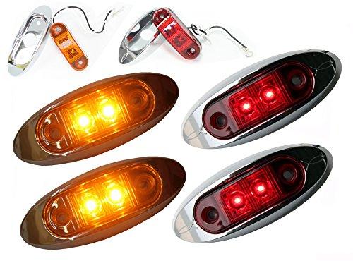 "2 RED 2 AMBER 2"" AutoSmart KL-15114RE Oval LED Clearance/Side Marker Light with Chrome Bezel for TRUCK TRAILER"