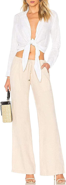 Womens Long Sleeve T Shirt Casual Swimwear Tunic Top Beach Wear V Neck Tie Knot Button Down Blouses Tops