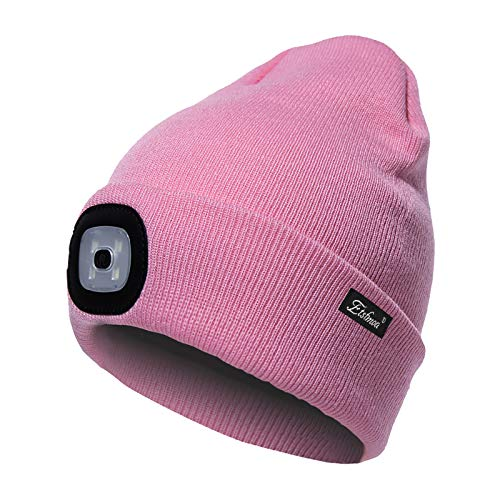 Etsfmoa Unisex LED Beanie Hat with Light, Gifts for Men Dad Him USB Rechargeable Winter Knit Lighted Headlight Headlamp Cap (Pink)