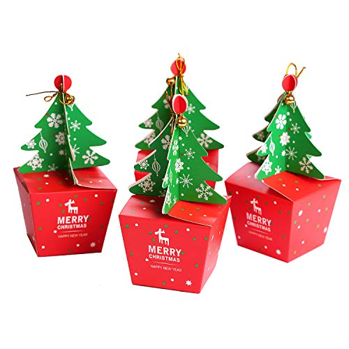 FINGOOO 10 Pieces Christmas Cupcake Boxes Gift Boxes Gift Bag Xmas Tree Party Favour Decoration for Kids Party Supplies