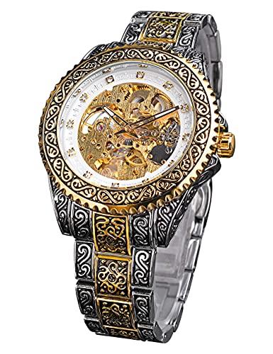 Forsining Vestido Flor Totem Reloj Automático Hombres Diamante Esqueleto Mecánico Relojes de Pulsera Doble Color Acero Inoxidable Impermeable Montre Masculino