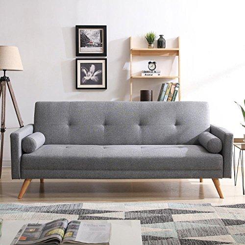 CONCEPT USINE - Canapé Scandinave Convertible Wooden 3 Places Gris - Canapé Moderne Droit en Tissu avec Accoudoirs - Coussins D'Appoint Déhoussables - Largeur 209 cm - Confort, Design, Résistant