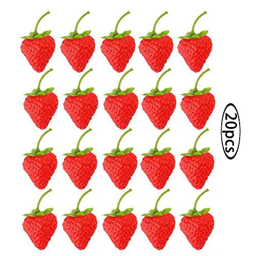 Künstlich rot Erdbeere Künstliche Lebensechte Gefälschte Früchte Plastikerdbeere Künstliche rote Erdbeere Feiertagsdekoration Modedekoration Kunststoff Erdbeeren Früchte Requisiten (20 Stücke)