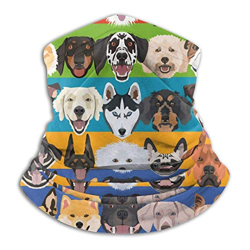 Jopath Coloridos perros de forro polar de microfibra calentador de cuello invierno polaina mágica bufanda resistente al viento pasamontañas unisex
