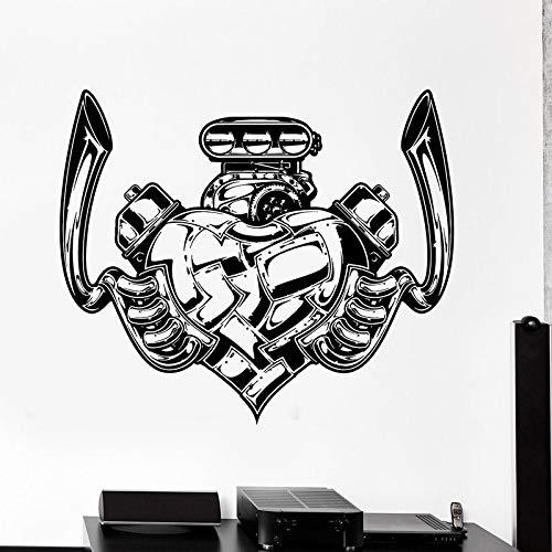 Diseño Amor Forma de corazón Motor de motocicleta Servicio de reparación de automóviles Moto Coche Garaje Etiqueta de la pared Calcomanía de vinilo Niño Dormitorio Club Decoración para el hogar M
