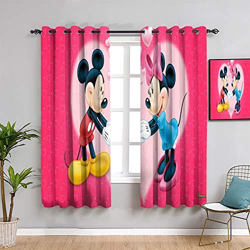 Cortinas de privacidad con estampado de Mickey Minnie Mouse, de 160 cm de largo, para habitación de niñas, cortina de baño, 52 x 63 pulgadas de ancho