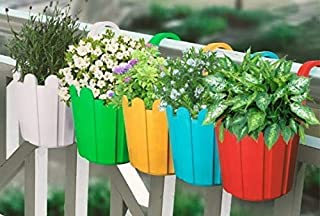Oshi Greens Hanging Planter for Indoor Or Outdoor Plants Hanging Flower Pot Balcony Railing Planter Hanging Fence Planter ...