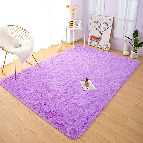 YOH Fuzzy Soft Modern Shaggy Area Rugs, Non-Slip Plush Fluffy Bedroom Furry Fur Rugs, Indoor Comfy Accent Floor Carpet for Dorm Living Nursery Kids Room Home Decor, 4 x 6 Feet Purple