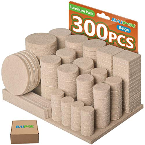 300 Piezas Almohadillas de Fieltro Adhesivo Premium para Muebles Set GRANDE de 10 Tamaños Protector de Patas para Sillas, Mesas, Suelo