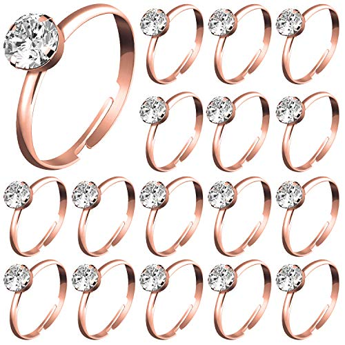 Whaline 72Pcs Rose Gold Bridal Shower Diamond Rings, Adjustable Engagement Rings for Wedding Table Decorations, Bridal Shower Game and Party Favors