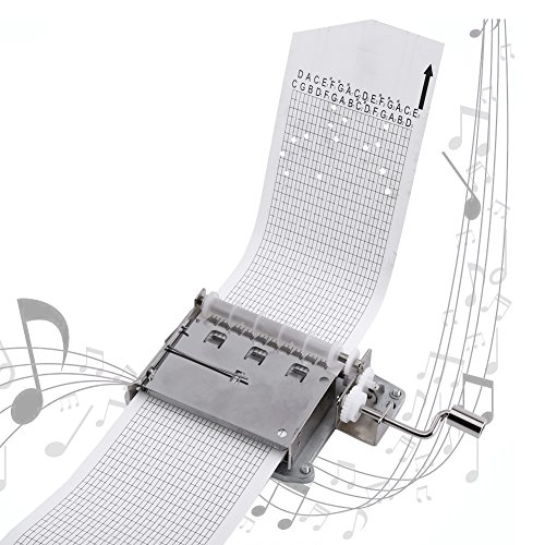 FTVOGUE Caja de música de manivela de 30 notas con perforador de piezas, 3 tiras en blanco