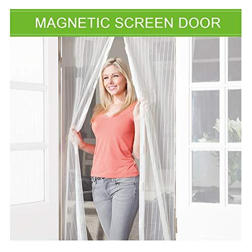 Flei Magnet Fliegengitter Tür 90x200cm, Magnetischer Fliegenvorhang Moskitonetz, Auto geschlossen, faltbar, for Türen/Patio - Weiß