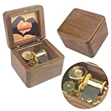 Sinzyo Natural Wooden Music Box with Customizable Photos Wind Up Musical Box Gifts for Christmas,Birthday and Valentine's Day (Simple Walnut, Tone:for Elise)