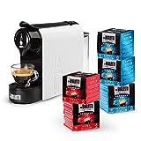 Bialetti Gioia, Macchina Caffè Espresso con incluse 80 Capsule, Supercompatta, Serbatoio 500 ml, Bianco